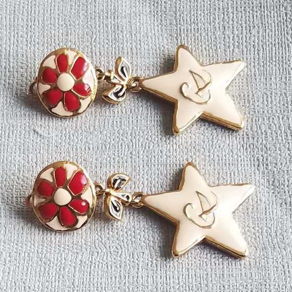CHRISTIAN LACROIX earrings, vintage enamelled - image 3