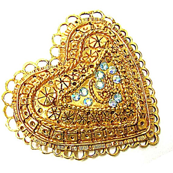 CHRISTIAN LACROIX heart brooch, striped centre and