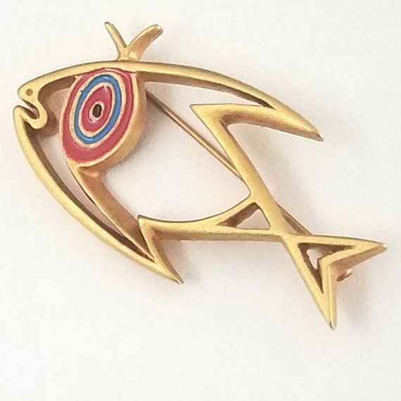 JEAN COCTEAU fish brooch, golden metal