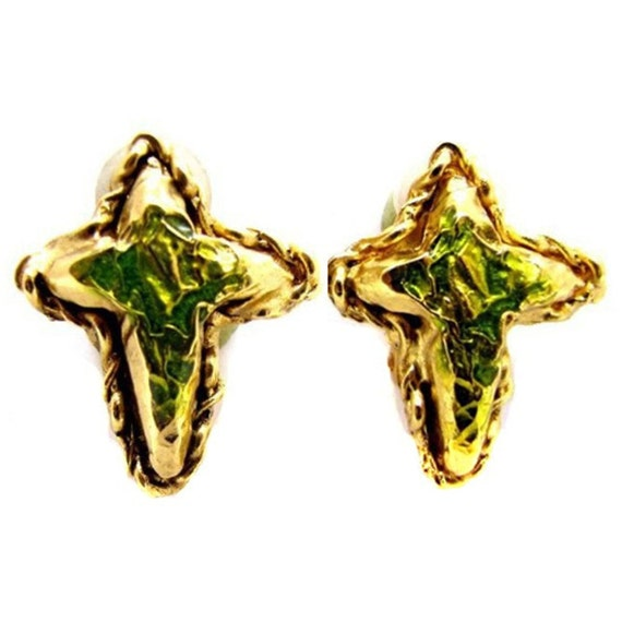 Earrings CHRISTIAN LACROIX, enamel cross - image 1