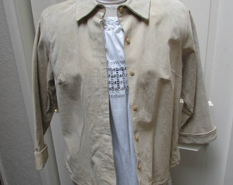 957c671e927a0 Vintage NEW 80 s off white pigskin leather shirt jacket western Rodeo boho  cowgirl Bagatelle size 16
