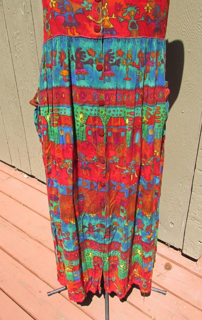 Vintage 90/'s Bila maxi sundress 1 long dress size M festival hippie boho classic crinkle rayon free shipping USA