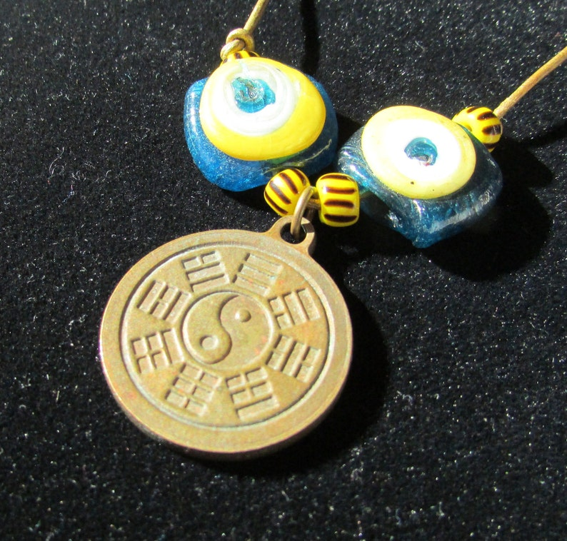 Vintage handcrafted unisex necklace unique brass amulet reversible yin yang dragon pendant OOAK medal free shipping USA