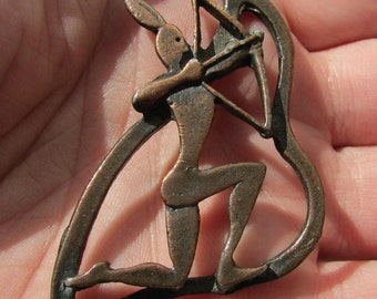 Vintage Unique Modernist arts and crafts copper Native American Hunter pendant OOAK? FREE shipping USA only