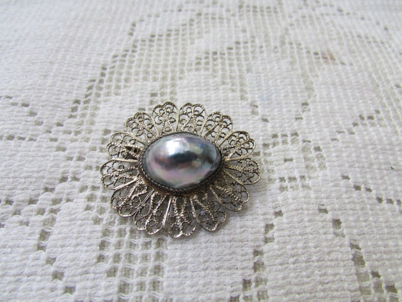 Vintage silver filigree Osmena pearl set parure brooch ring earrings  estate find free shipping USA