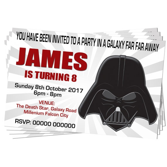 BIRTHDAY PARTY INVITATIONS Fancy Dress Disco Party Star Wars Storm Trooper