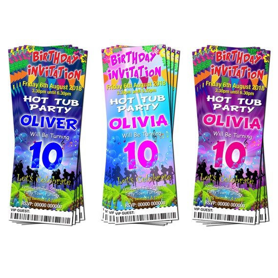 Blue Colours Ticket Style BIRTHDAY PARTY INVITATIONS Sleepover Hot Tub