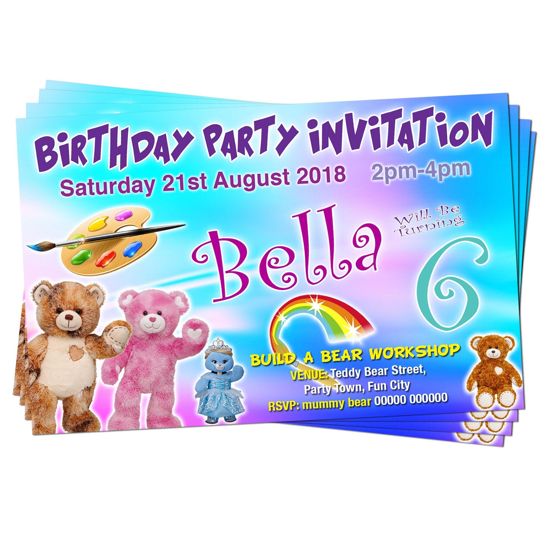 Build A Bear Birthday Invitations Pink Blue Purple Coloured Etsy