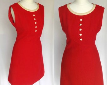 a2369b58cda Vintage 1960s Huko French Designer Label Mod Psych YeYe Red & White Star  Button Bib Scooter Mini Shift Dress Small