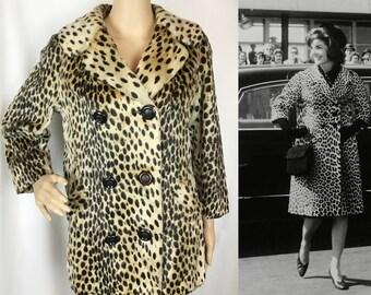 Rare Vintage 1960s Designer Best & Co New York label Mid Century Mod Iconic Jackie O Edie Sedgewick style Leopard Print Faux Fur Coat Small