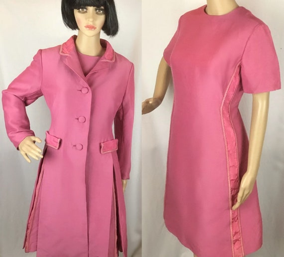 1960s Chiffon Dress and Coat Floral Print Sheath Dress and Jacket by Murray G Sophisticates Vintage 60s Dress and Coat Set
