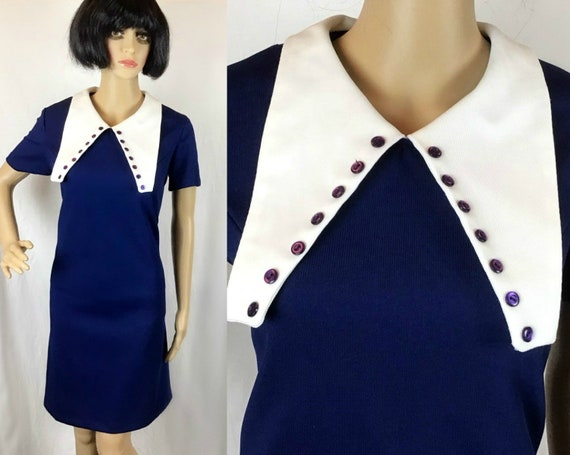 Vintage 60s 70s Mod Psych Navy Blue & White Over S
