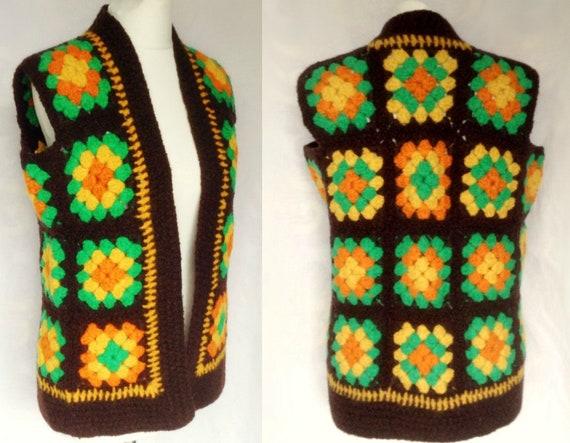 Vintage 1970s Hippie Boho Brown, Orange & Green Cr