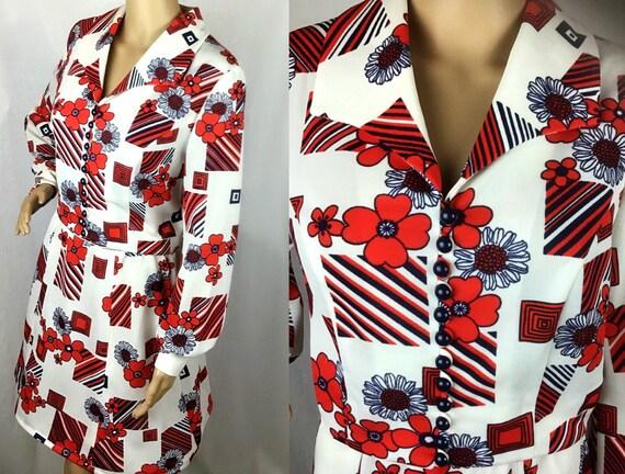 Vintage 1970s Designer Riddella label Mod Red Whit