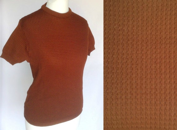 SALE! Vintage 60s 70s Mod Northern Soul Scooter Brown Knit Sweater Jumper  Top Small
