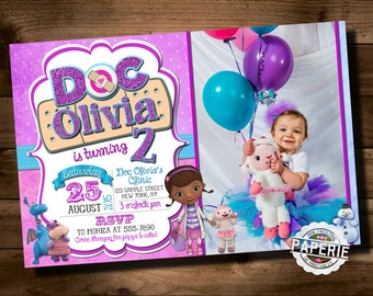 DOC MCSTUFFINS Photo BIRTHDAY Invitation Doc McStuffins Party Ideas Printable Pink Frosting Paperie