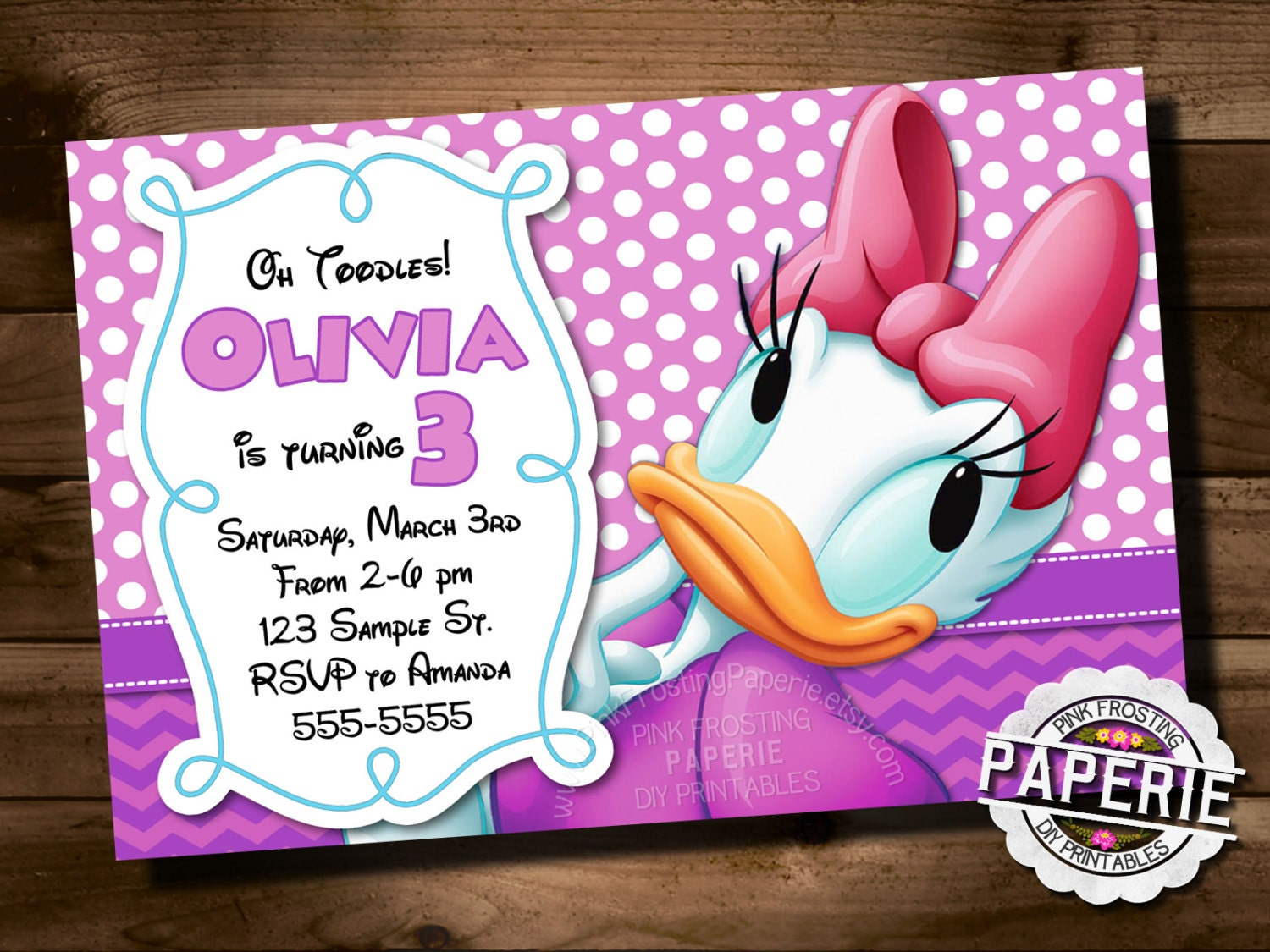 DAISY DUCK Birthday INVITATION Polka Dot And Chevron Daisy