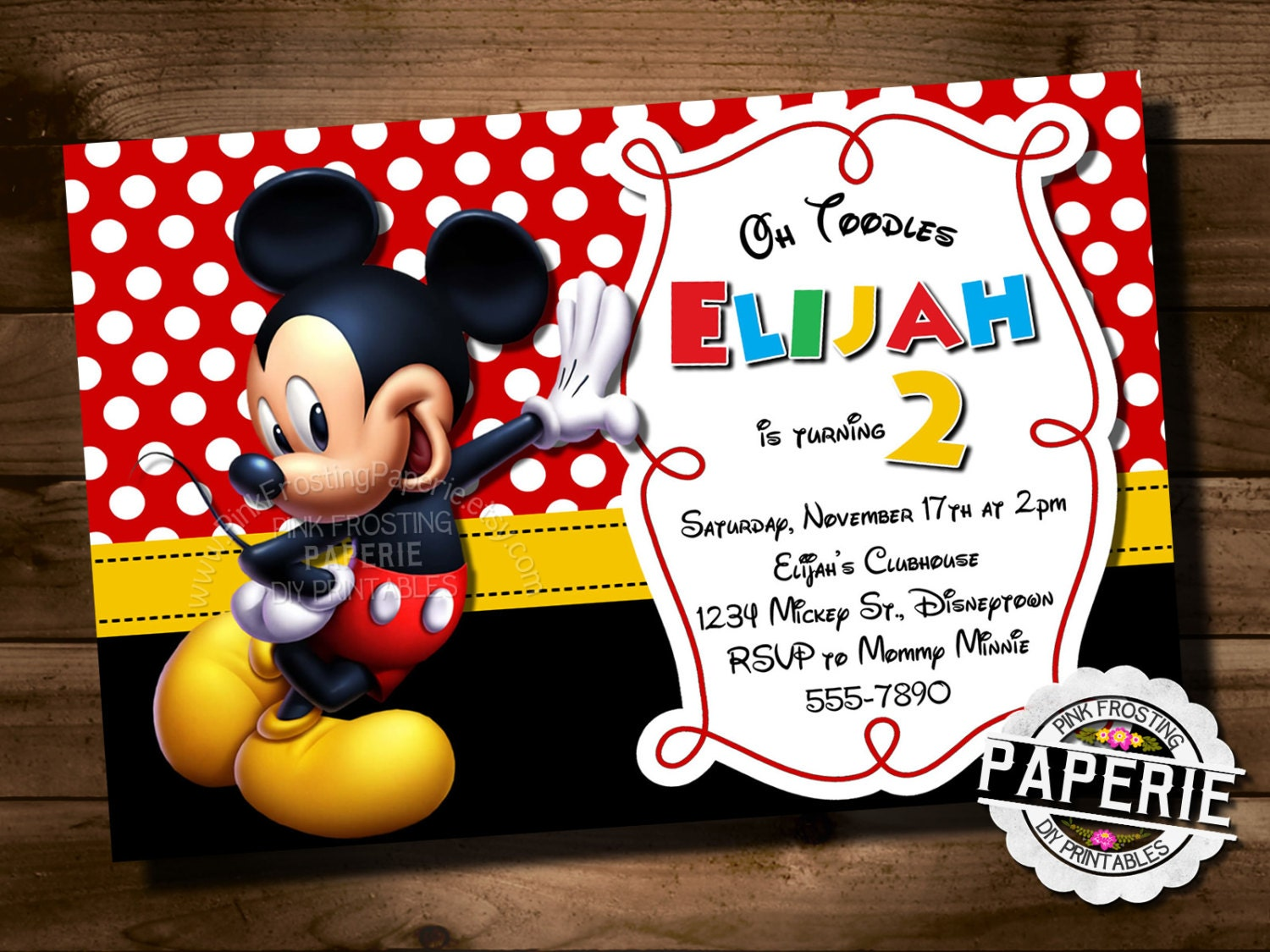 MICKEY MOUSE Birthday Invitation Mickey Mouse Clubhouse | Etsy