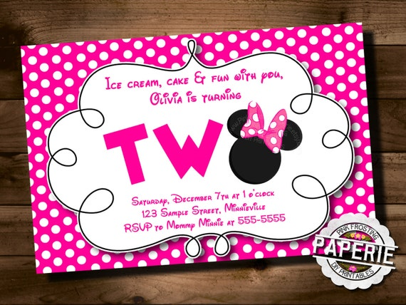 Pink Polka Dot MINNIE MOUSE Second Birthday Invitation Minnie