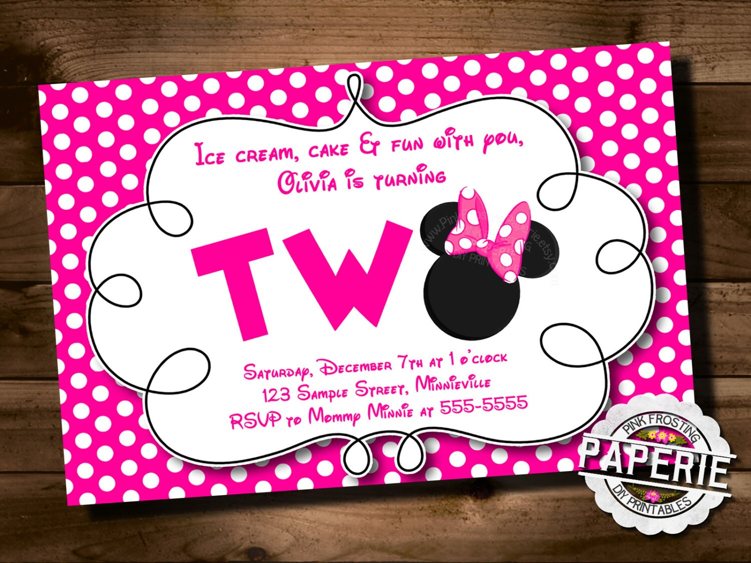 Pink Polka Dot Minnie Mouse Second Birthday Invitation Minnie Etsy