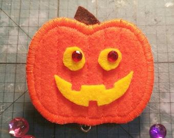 Pumpkin Jack O Lantern Halloween ID Badge Holder Reel Clip