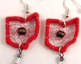 Ohio State Buckeye Dreamcatcher Earrings