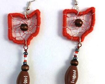 Ohio State Buckeye Football Dreamcatcher Earrings