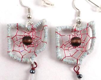 Ohio State Buckeye Dreamcatcher Earrings-gray