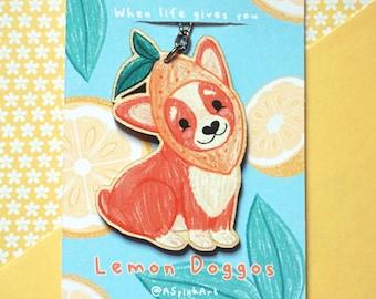 Lemon Doggo Wooden Keyring - Printed Illustration Birch Plywood Charm - Cute Fruit Dog Gloss Keychain Charm
