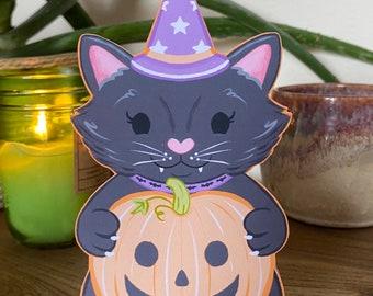 Halloween Cat Standing Card - 3D Cute Spooky Animal Greetings Card - Kids Decorative Trick or Treat Pumpkin Card