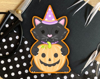 Spooky Halloween Cat - Glossy Die-Cut Sticker - Illustration Stickers   Cute Notebook Laptop Decor   Pumpkin   Witch
