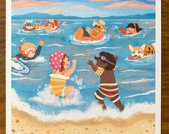 Beach Evenings - Illustration Print - Children's Room/Nursery Wall Art Decor - Square Print - 20cm or 14cm Size Options