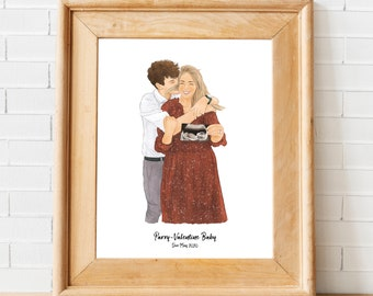Custom Baby Announcement Couples Portrait - Personalised Digital Illustration - Unique Gift