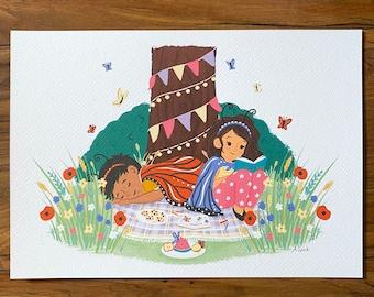 Butterfly Picnic - Illustration Print - Children's Room/Nursery Wall Art Decor - Garden Nature - A4 or A5