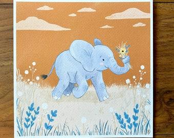 Elephant with Flowers - Illustration Print - Children's Room/Nursery Wall Art Decor - Square Print - 20cm or 14cm Size Options