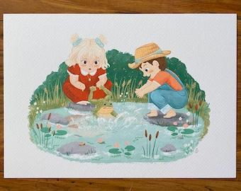 Frog Pond - Illustration Print - Children's Room/Nursery Wall Art Decor - A4 or A5