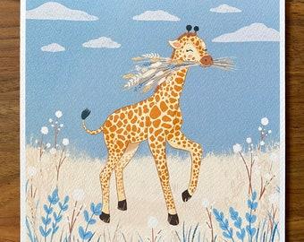 Giraffe with Flowers - Illustration Print - Children's Room/Nursery Wall Art Decor - Square Print - 20cm or 14cm Size Options