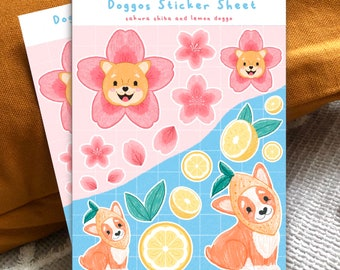 Doggos Sticker Sheet - Dogs   Sakura Shiba and Lemon Doggo Kiss Cut Glossy Illustration Stickers   Planner   Decor   Fruit & Cherry Blossom