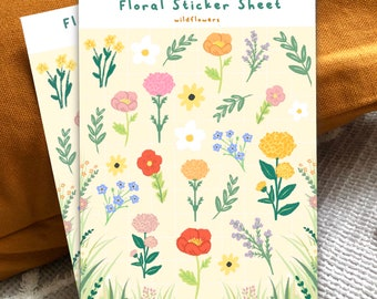 Wildflower Floral Sticker Sheet - Flowers   Spring Summer Kiss Cut Glossy Paper Illustration Stickers   Planner   Decoration   Cottagecore