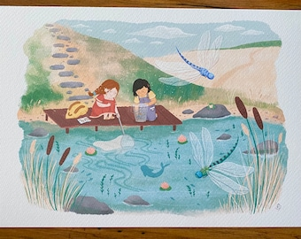 Pond Dipping - Illustration Print - Children's Room/Nursery Wall Art Decor - A4 or A5
