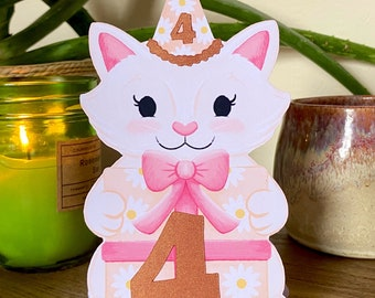 Birthday Cat Standing Card - Personalised Numbered Cute Animal Greetings Card for Kids - Decorative 1st 2nd 3rd 4th Birthday Card