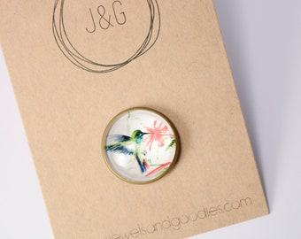 Bird pin, bird brooch, bird button