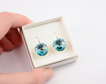 Aquamarine earrings - aquamarine crystal earrings