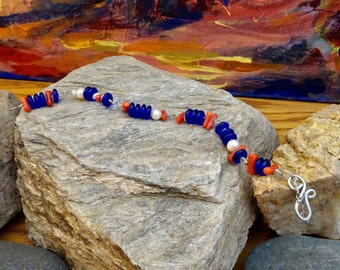 Bracelet - Silver - Red Coral, Blue Glass Beads and White Pearls