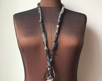 Fiber Necklace w/Stones (EN01)