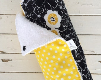 Zerowaste Unpaper towels | Ecological reusable kitchen rags | Yellow and black kitchen | House warming gift | Made in Quebec