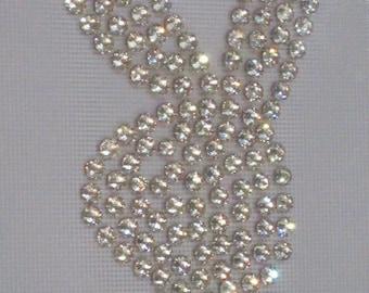 Rhinestone Bunny Crystal Clear Iron On Transfer  Playboy Easter