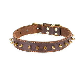 Medium Spiked Leather Dog Collar, Red Oak Dark Brown Real Leather, Soft, Adjustable Sizes, X-Small, Small, Medium, Large and X-Large