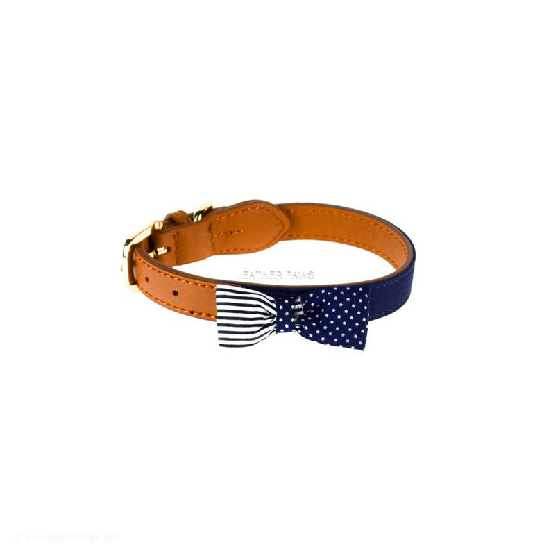 Soft Leather Dog Collar Bow Tie Design with American flag for Small Medium Dogs