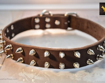 """Spiked Brown Leather Dog Collar Made of Stainless Silver Sharp Spikes Buckle and Leather Adjustable for Small to Large Breed  9"""" to 27"""""""